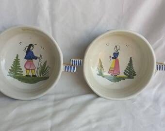 Vintage Quimper Latte Bowls