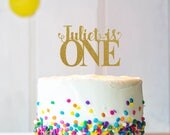 Any Name - One Cake Topper, Cake Decoration, Glitter, Party Decoration, Custom, Gold, Silver, Birthday, First Birthday, Bday, 1st Birthday