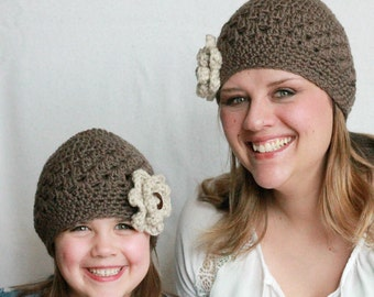 Crochet Hat Pattern, Mommy and Me Crochet Hat Pattern, Women's Crochet Hat Pattern, Child's Crochet Hat Pattern, Baby Crochet Hat Pattern