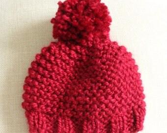 Baby Red Pom Pom Bobble Hat