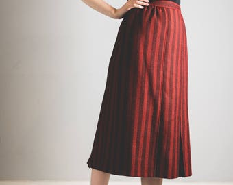 Jaeger Red & Black Stripe Wool Blend Skirt // classic // designer