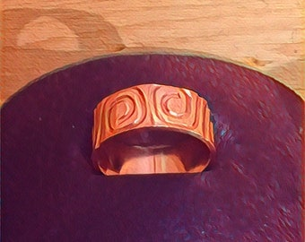 Pure Copper Pattern Ring