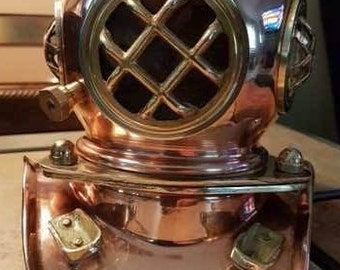"Diver's Helmet (Copper with Brass Fittings) - 7"" high 8"" wide"