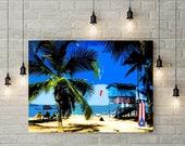 Puerto Rico Art, Print or Canvas, Puerto Rican Beach Decor, Famous Luquillo Beach Picture, San Juan, Caribbean Wall Art, Travel Art Decor
