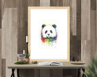 Rainbow Panda Watercolor Fine Art Print