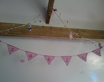 Personalised crocheted bunting for nursery christening wedding gift