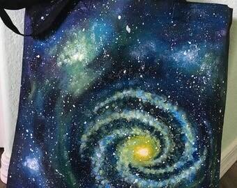 Blue/Green Spiral Galaxy Tote
