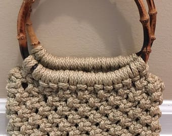 Cool Vintage Macrame Bag with Bamboo Handles