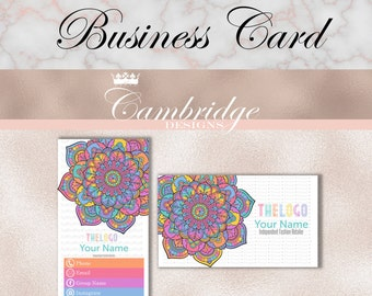 Mandala Flower Business Card  Inspired By LuLaRoe Business Cards - Home Office Approved Fonts and Colors Business Card, Digital