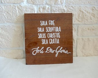 "Wooden sign ""soli Deo Gloria"" (handmade)"