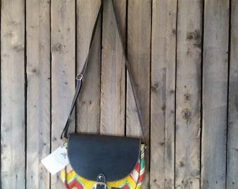 Crossbody black leather bag. Clutch purse. Spring colors !