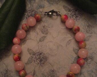 Pink Jade, Magenta & Green Apple Jade Beaded Bracelet