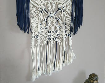 Macrame wall white and Navy Blue