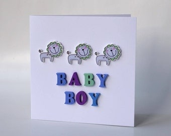 Baby boy wooden button greeting card with envelope 5x5