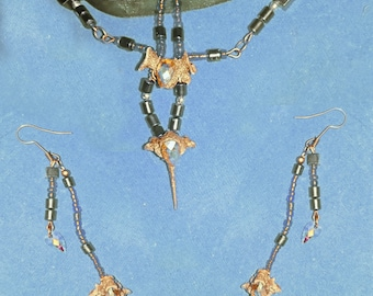 Rabbit Vertebrae Necklace and earrings set