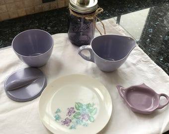 Vintage Melmac Set, Lavendar / Purple Vignette Collection