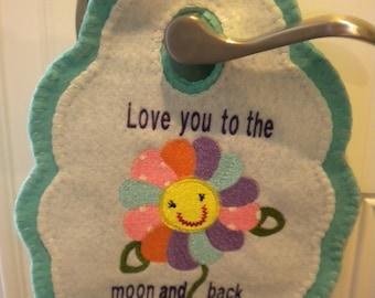 Kids gift, door knob hangers, wool felt, machine embroidery