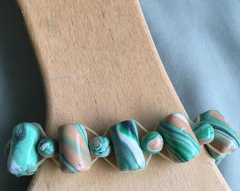 Multicolored Hand-Rolled Polymer Clay Bead Stretch Bracelet