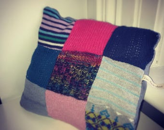 Cozy upcycled sweater pillow