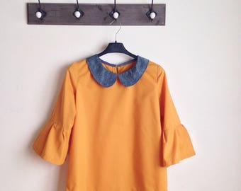 Flared tunic / yellow blouse / long sleeves blouse