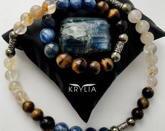 """Stylish male choker """"To success in business!"""" From natural stones."""