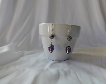 Purple Twisted Glass Beads with Silver Accents