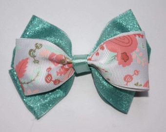 Pastel Roses and Sparkles Double Boutique Hair Bow