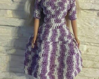 Vintage 50 year 60 Barbie type doll dress handmade crocheted