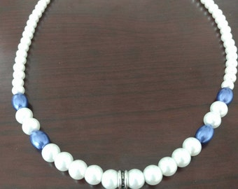 White Faux Pearls with Blue Accents
