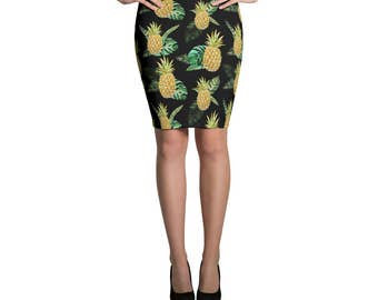 Skirt Pineapple Pencil or Mini Skirt  Woman's Skirts Printed Skirt Fashion Bottoms Crazy Unique Outfit Stretch Printed Fabric