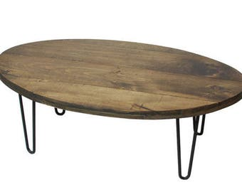 Oval Coffee Table, Round Coffee Table, Industrial Coffee Table, Mid Century  Modern,