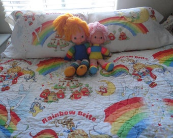 Vintage Rainbow Brite Dolls and Complete Twin Bedding/Sheet/Bedroom Set