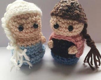 Anna and Elsa Amigurmi, Disney Princess, crocheted