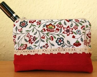 Floral cosmetic bag / red zippered makeup bag pencil cases