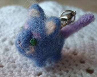 Needle felted miniature blue and purple cat plush keychain