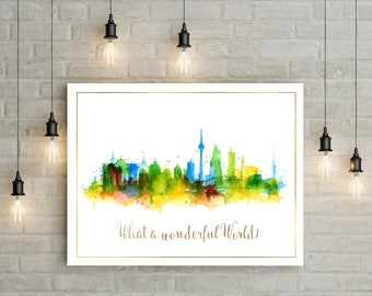 Wonderful World, Map print, Map art, World Travels Map, City map art, adventure art, wanderlust print, watercolor map, travel quote,