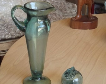 Ocean Blue Hand Blown Vase and Paper Weight from Okinawa