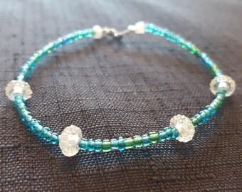 White Sparkle Bauble Beaded Bracelet