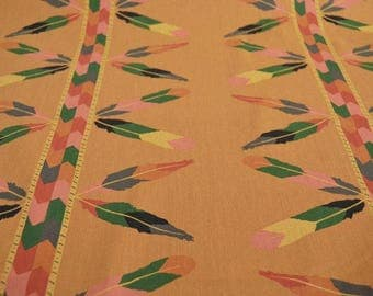 Feathers fabric Cotton fabric by the metre, floral cotton, orange, brown