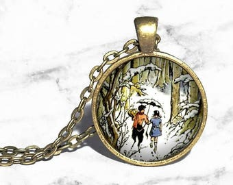 Narnia Mr Tumnus and Lucy Necklace, CS Lewis, The Lion, The Witch and the Wardrobe, Aslan Literary Jewelry Bracelet Ring Keychain