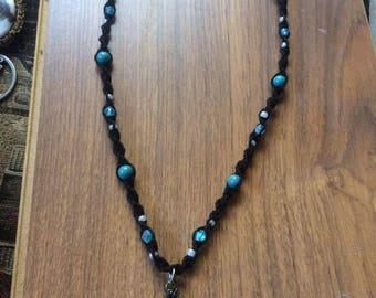 Black seahorse necklace