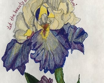Blue Iris with Rumi quote.
