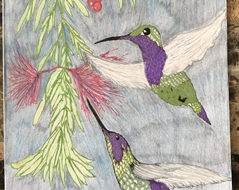Hummingbirg note card with envelope