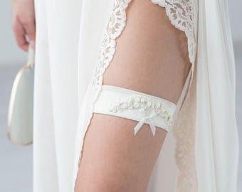 Ivory Wedding Garter Bridal Champagne Embroidery Flowers Bridal Garter by Liumy Bridal
