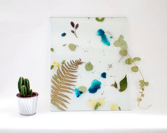 Frame glass transparent watercolor flowers
