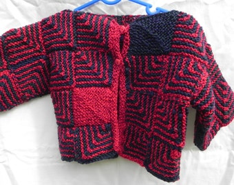 Knitted patchwork baby jacket