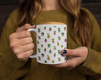 Cactus Land Mug Unique Cactus Pattern Coffee Mug | Flower | Green Thumb | Gardener Gift | Gardening Gift | Outdoor | Witty Novelty
