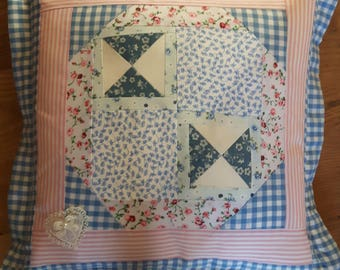 Pink & Blue Patchwork Feather Cushion