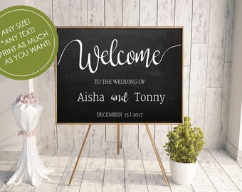 ChalkBoard Welcome Sign, Printable Welcome Wedding Sign,ChalkBoard Wedding Sign, Modern ChalkBoard Welcome Sign, Reception Welcome Sign