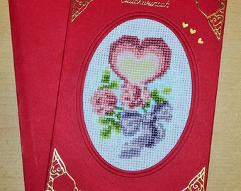 Embroidered card, greeting card